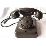 Telefone Antigo Preto Adaptado E Funcionando Em Baquelite