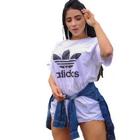 b4d4ef8f0f0 Camiseta Mulher Homem adidas Casual 100% Algodão Camisa Luxo