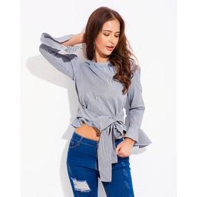 Cortas A Blusa Camisa Superior Nuevo Mujeres Sandalia Rayas gA6vqa