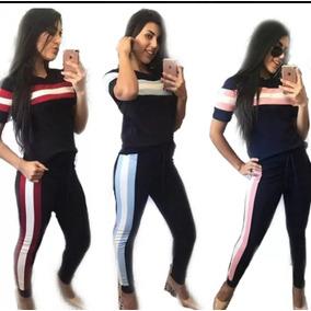 Kit 2 Conjunto Feminino Malha Crepe Fashion Tendência 2019