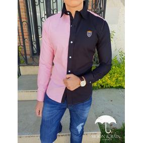 Camisa Slim Fit Rosa - Negro Escudos Bordados Moon & Rain