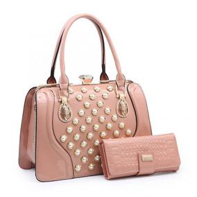 Linda Bolsa E Elegante Luxo Verniz Ss161 Com Carteira Pink