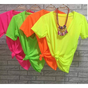 Blusa Feminina Amarrar Neon Com Nó Camisa