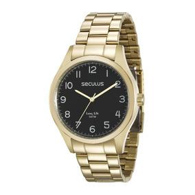 0ede8dde389 Relogio Seculus Dourado Com Fundo Preto - Relógios De Pulso no ...