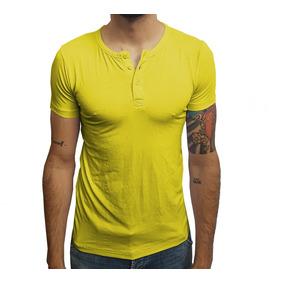 Camisa De Botao Amarela Camisetas Manga Curta Masculino - Camisetas ... 2ff4f12be8539