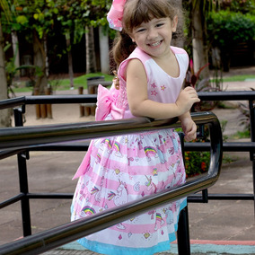 Vestido Infantil Festa Criança Unicórnio Temático Luxo