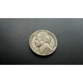 Mp74= Moeda Eua 1945 Five Cents Letra P Prata Sem Limpar