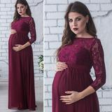 be5bb02743 Vestido Importado Elegante Fiesta Materno Manga 3 4 Encaje
