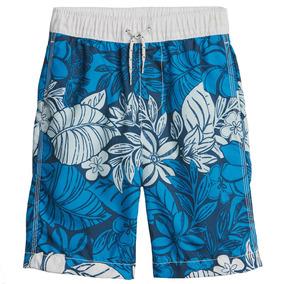 Traje De Baño Niño Short Estampado Flores Ajustable Azul Gap