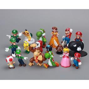 Coleção Kit 18 Miniaturas Super Mário