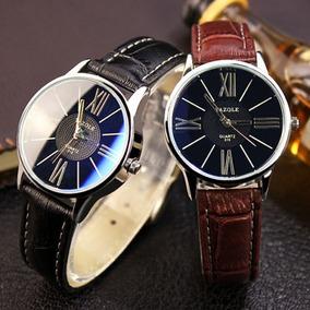 2529b2e8847 Relógio Yazole Masculino Couro Sintético Cores Preto Marrom