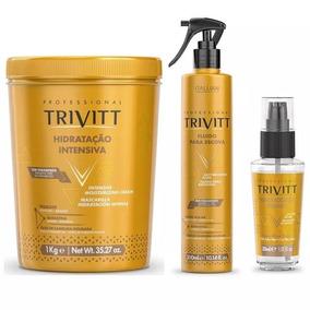 Trivitt Máscara Hidratação 1kg + Fluido Escova + Reparador