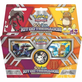 Kit Do Treinador Pokémon Sol Lua Lycanroc Raichu Alola Copag