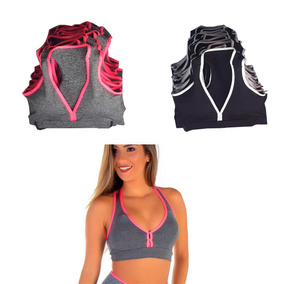 Kit 5 Tops Cropped Academia Fitness Com Bojo Sport Atacado