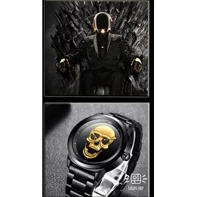 Relogio Caveira Skull,3d,dourado Brilhante,c/caixa,super Top