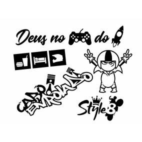 Kit 5 Adesivos Deus No Controle Do Jato Kick Cabo Enrolado