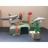 Playmobil Tubarão Com Mergulhador Raridade Fundo Do Mar Nau