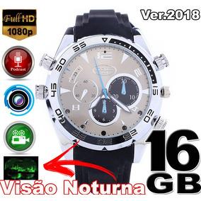 7b8d306bff7 Relógio Espião Visão Noturna Foto 12mp 16gb 1080p Luxo - Segurança ...