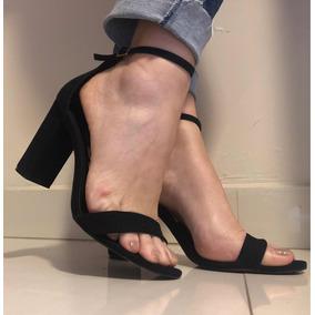 Sandália Preta Salto Em Bloco Santa Lolla