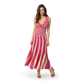 Vestido Longo Plissado Feminino Tricô Tricot Blogueiras 5075