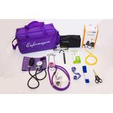 Kit De Enfermagem Roxo Completo Com Aparelho De Pressão