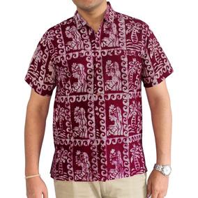 Camisa La Leela Para Hombre Con Mano Hawai Miami Granate