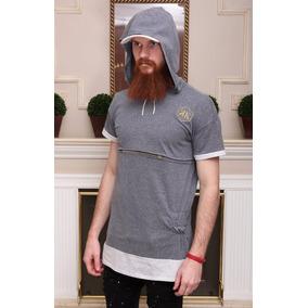 Camiseta Longline Swag Oversized Cinza Com Gorro bf9a5645fae