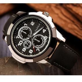 Relógio Masculino Original Yazole Em Couro Sintético