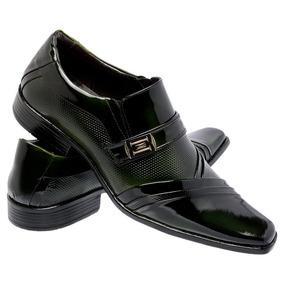 Sapato Social Luxo Italiano Classico Verniz Couro Verde 0751