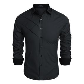 Hombres Casual Suelta Botón Camisas De Algodón Av 61a6776e8abfc
