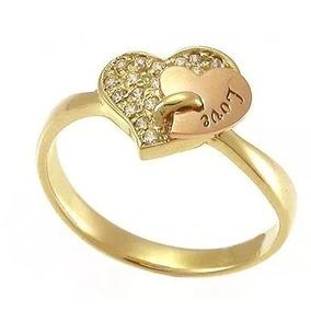 b3b6050f726 Anel Em Ouro Escrito Love Com Diamantes - Joias e Bijuterias no ...
