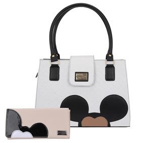 Bolsa Feminina Mickey Italian Kit Com Carteira Forrada
