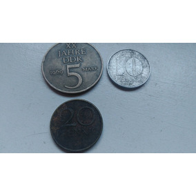 3 Moedas Antigas Alemã 1967-1969 Alemanha Oriental Comunista