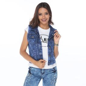 Colete Feminino Jeans Destroyed Com Bolso E Spike Top 100% 75a967d412bd2