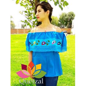 Blusa De Dama Mexicana Bordada Artesanal Típica Mexicana Cam