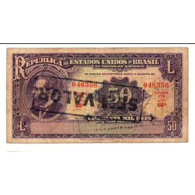 Cédula R130 - 50 Mil Réis 1936 - Carimbo Sem Valor Mbc.