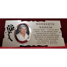 Placa Recordatoria Cementerio 25x12 Con Foto Acero Inox