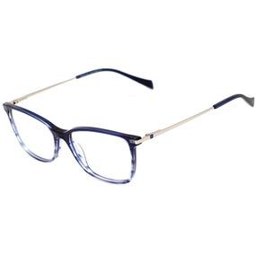 Hickmann Hi 6117 - Óculos De Grau C02 Azul Translúcido E Pra 19b856cb34