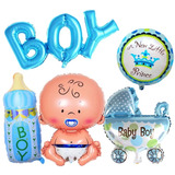 Set De 5 Globos Metalicos Para Baby Shower Niño