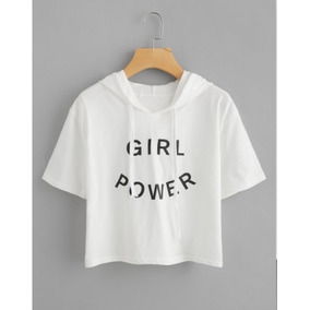 5d92b85471 Camiseta Cropped Com Capuz Girl Power Feminina Tumblr