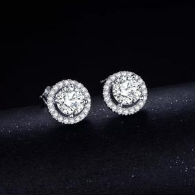 Elegantes Aretes Plata Sólida 925 Y Diamante Cz Top Grade