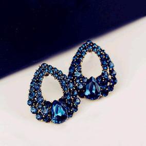 Brincos Feminino Festa Pedras Azuis Estiloso #32