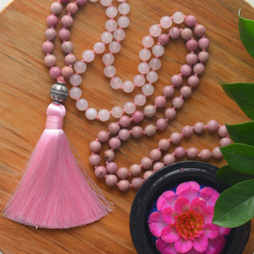 Japamala 108 Contas Quartzo Rosa Meru Prata Tibetana