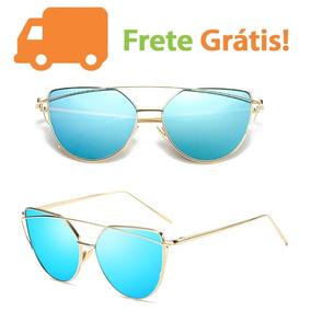 a67a6bcfc9762 Oculos Espelhado Feminino Azul De Sol Outras Marcas - Óculos no ...