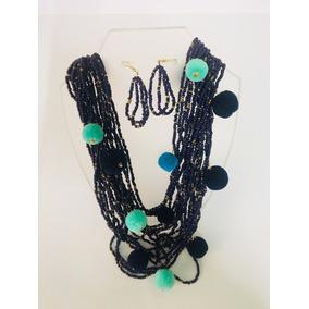 Juego De Collar Y Aretes Coral Azul Marino Y Pompones Shunia