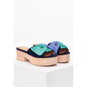 Sandalias De Mujer Clara Barcelo Toco Madera Aqua