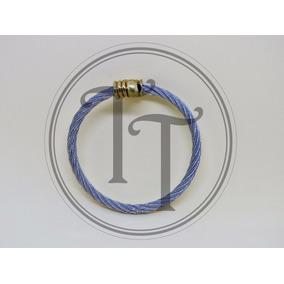 Pulsera Titanio 18k 2 Tonos Punto De Esmalte Azul