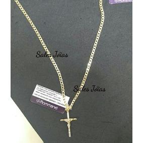 Cordão Rommanel 70cm + Pingente Cruz C/ Cristo 531878 540027