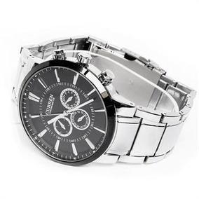 Relógio Curren Preto Aço Cromado 4,8 Cm Luxo Original 8001