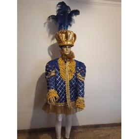 Fantasia De Rei Carnaval Escola De Samba Azul Com Dourado